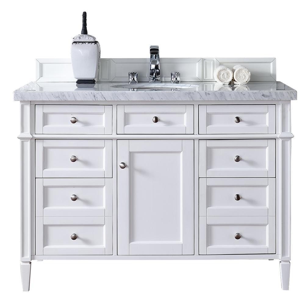 Brittany 48 in. W Single Vanity in Cottage White with Marble Vanity Top in Carrara White with White Basin