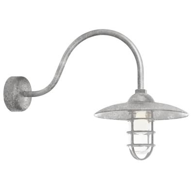 Retro Industrial 23 in. Arm 1-Light Galvanized Clear Glass Lens Outdoor Wall Mount Sconce