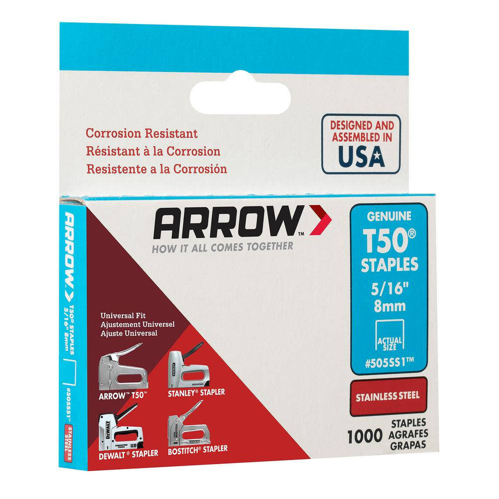 """8mm Stainless Steel Staples Pack of 1000 Arrow T50 5//16/"""""""