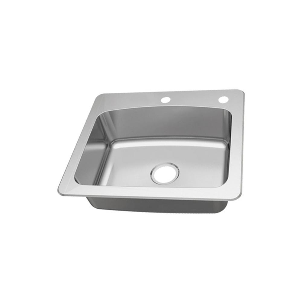 Dual Mount 18-Gauge Stainless Steel 25 in. 2-Hole Single Bowl Kitchen Sink