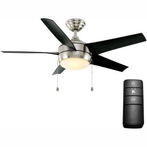 Windward 44 in. LED Brushed Nickel Ceiling Fan with Light Kit and Remote Control