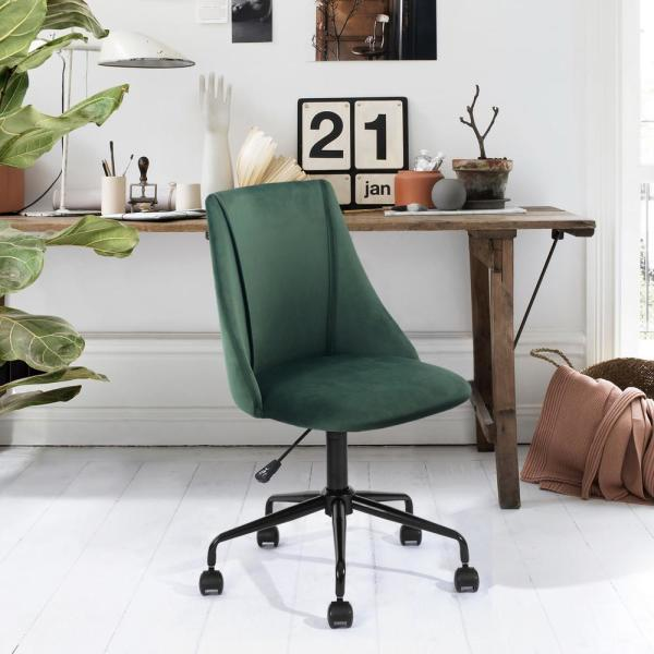 Furniturer Cian Green Velvet Swivel Office Desk Chair Cian 300mm 1pc The Home Depot