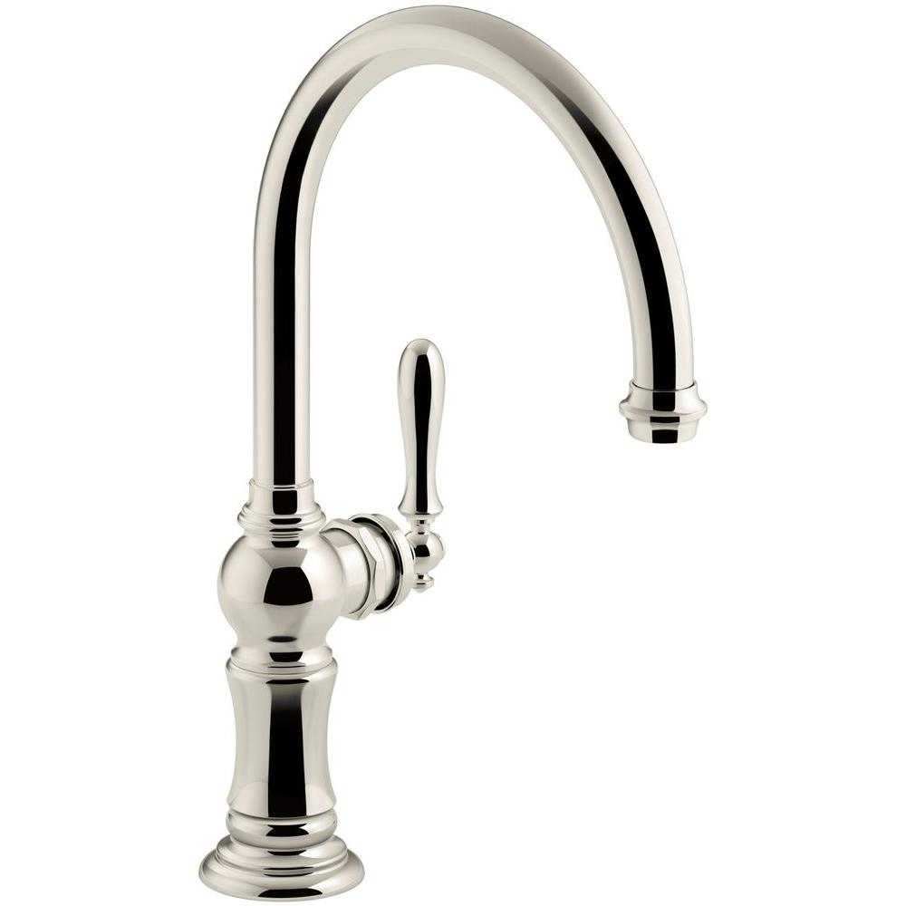 Artifacts Swing Spout Single-Handle Standard Kitchen Faucet in Vibrant Polished