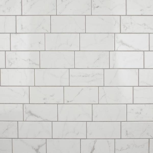 Classico Carrara Glossy 3 in. x 6 in. Ceramic Subway Wall Tile (6.03 sq. ft. / case)