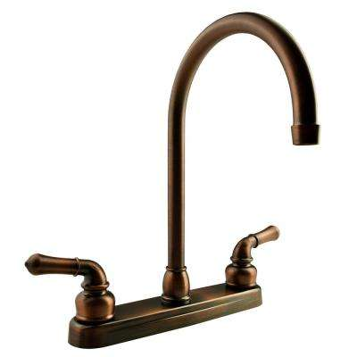 2-Handle Standard Kitchen Faucet with Hi-Arcing J-Spout in Oil Rubbed Bronze