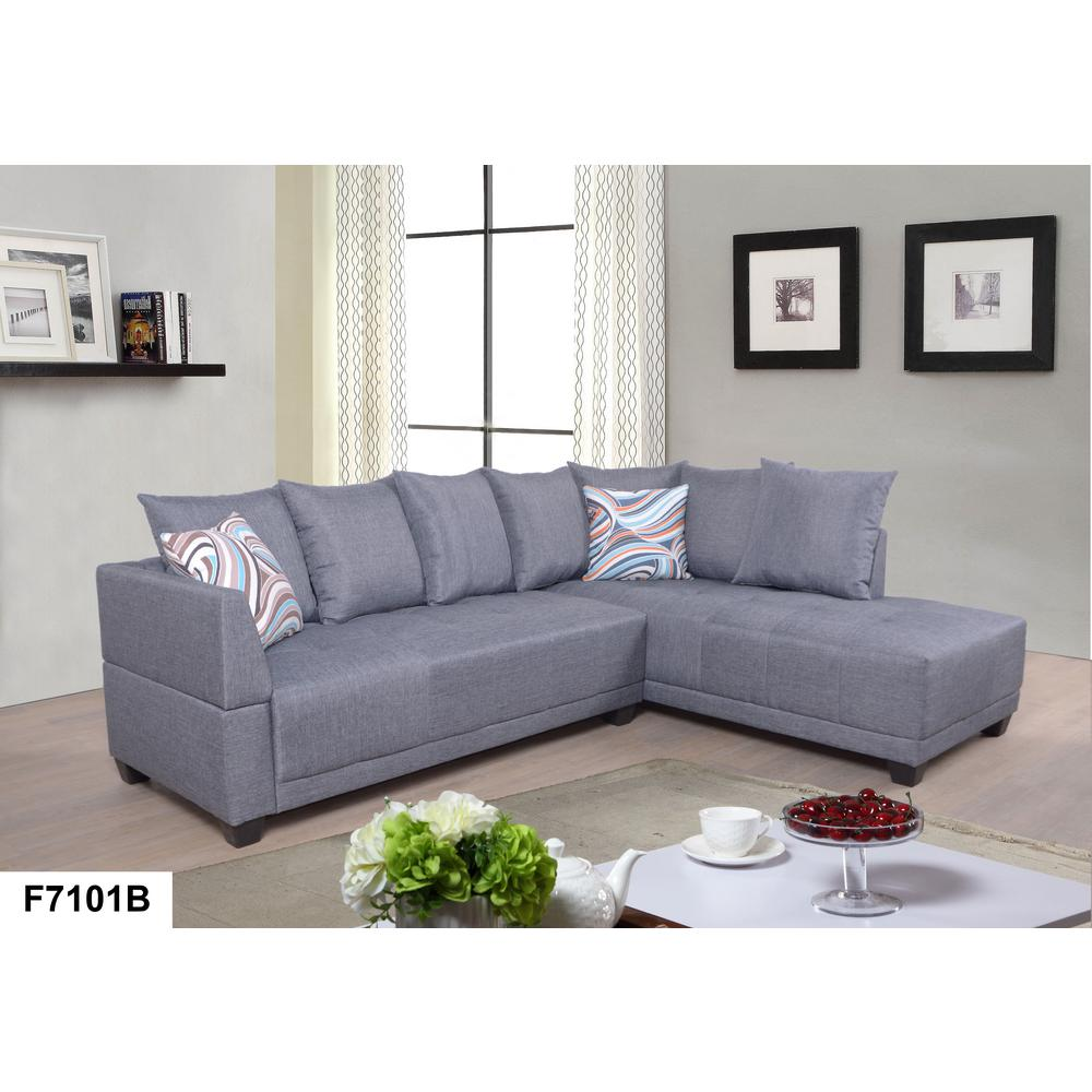 Gray Linen Left Sectional Sofa Set (2-Piece)