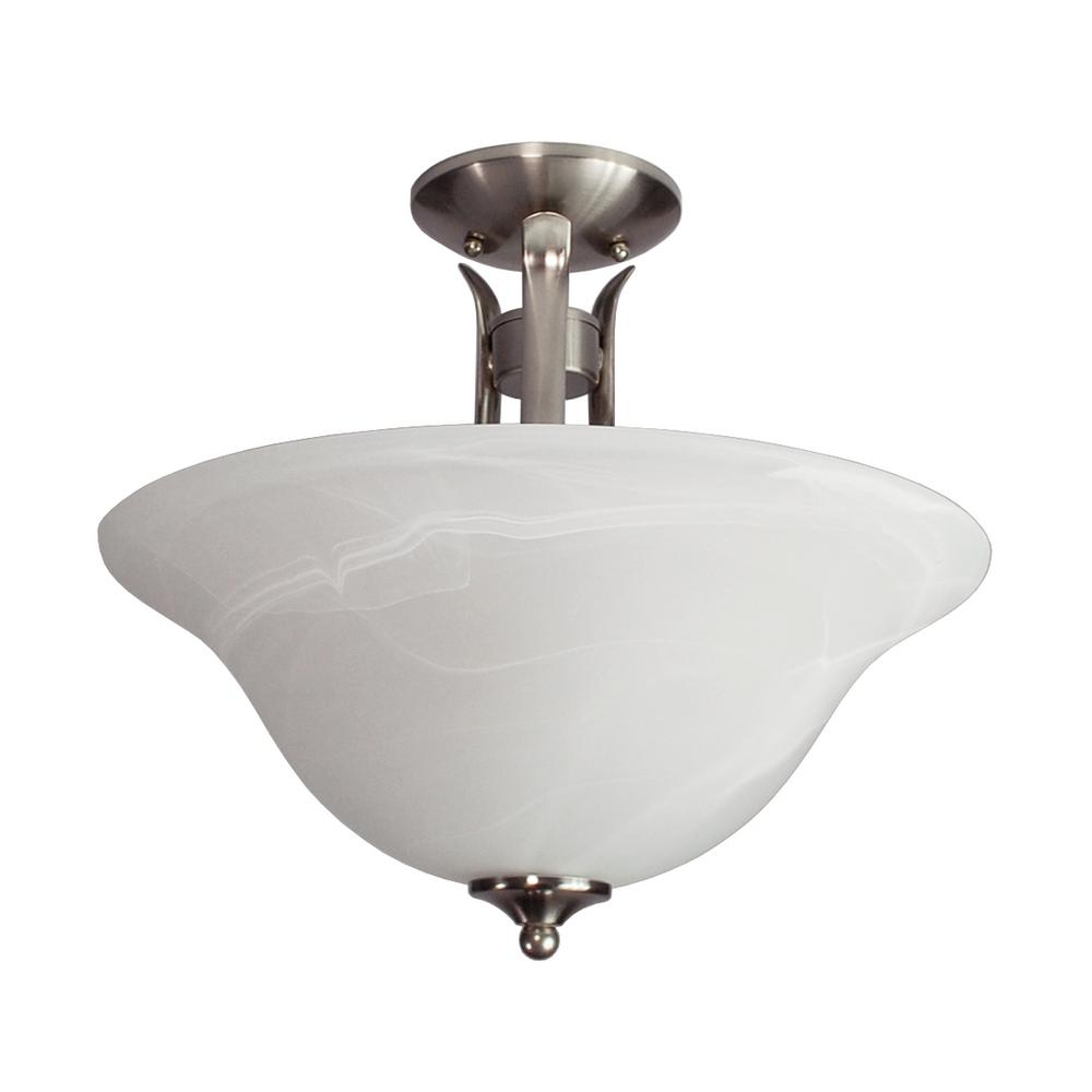 Aspen 2-Light Brushed Nickel Semi-Flushmount