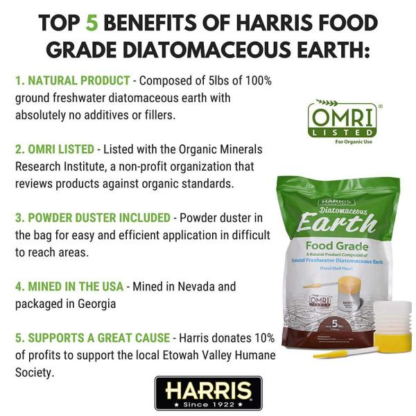 Harris 10 5 Lbs Diatomaceous Earth Food Grade With Powder Duster Applicator Defg 105p The Home Depot