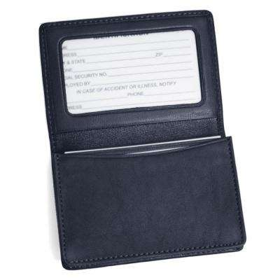 Genuine Leather Business Card Case Wallet, Blue