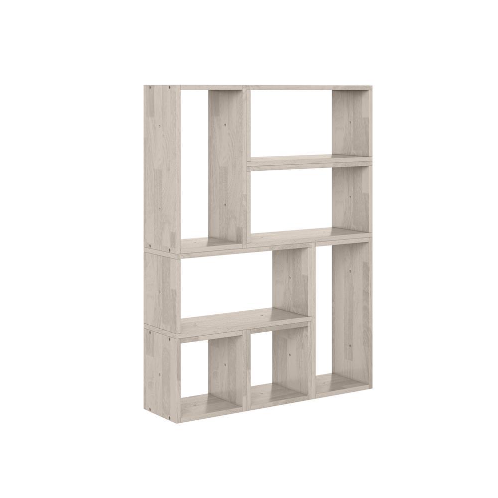Freemont White Wash Modern 7-Block Wood Shelving Set
