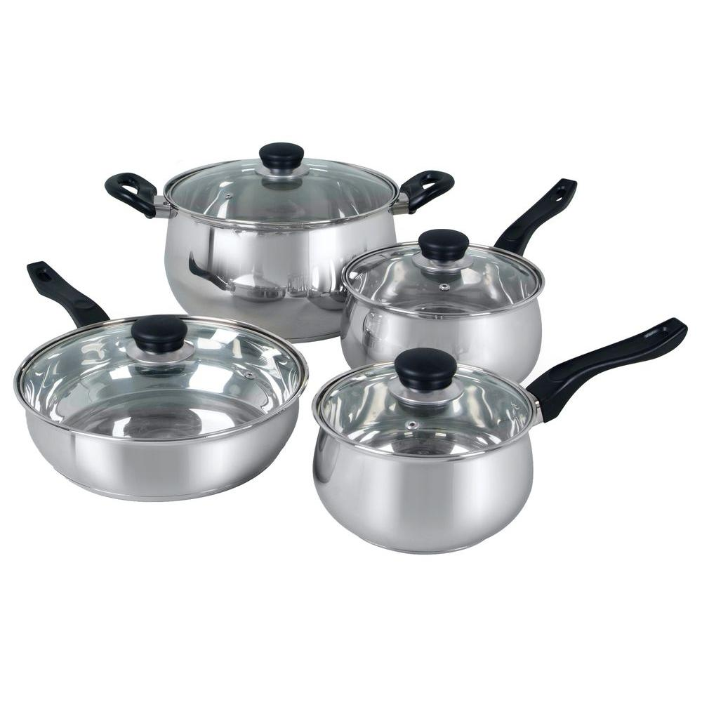 Oster Rametto 8-Piece Cookware Set, Silver