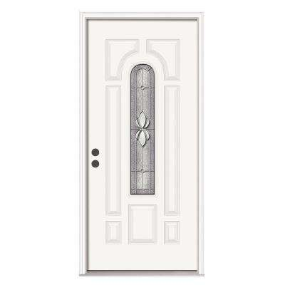 36 in. x 80 in. 8-Panel Center Arch Langford Primed Steel Prehung Right-Hand Inswing Front Door w/Brickmould
