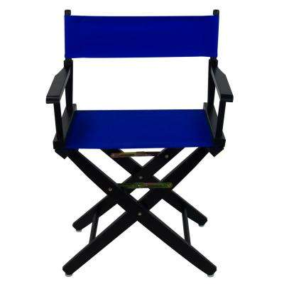 Extra-Wide 18 in. Black Frame/Royal Blue Canvas American Hardwood Directors Chair