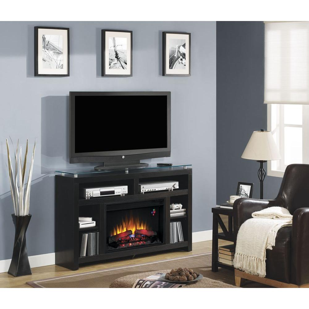 Chimney Free Tiffin 51 in. Media Console Glass Top Electric Fireplace in Ash Black
