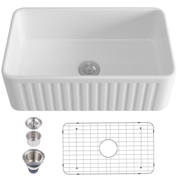 Star X Decor Cahill White Ceramic 30 In L X 18 In W Single Bowl Rectangular Farmhouse Apron Vessel Kitchen Sink With Grooves Ysskhd36002 The Home Depot