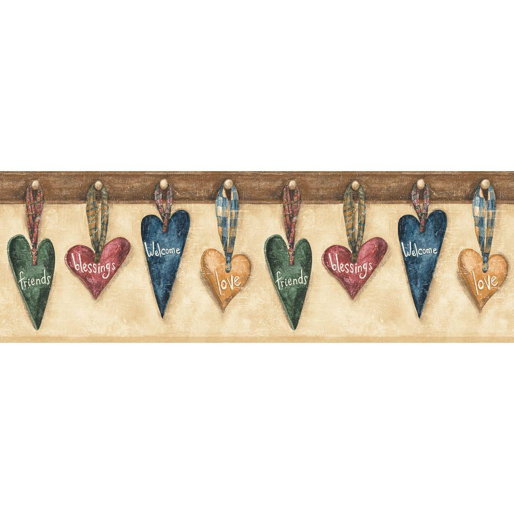 The Wallpaper Company 6.83 in. x 15 ft. Jewel Tone Hanging Hearts Border