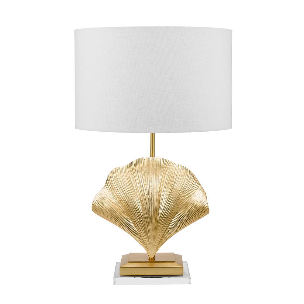 26 in. Gold Foil Art Deco Coastal Seashell Table Lamp