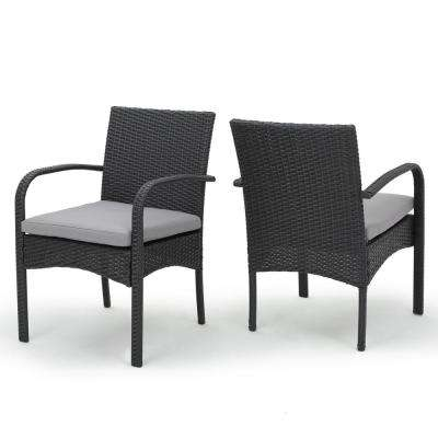 Cordoba Grey Water Resistant Wicker Outdoor Dining Chair with Grey Cushion (2-Pack)