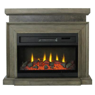 Mantle 38 in. Freestanding Infrared Electric Fireplace in Dark Gray with 3D Flame Effect and Remote