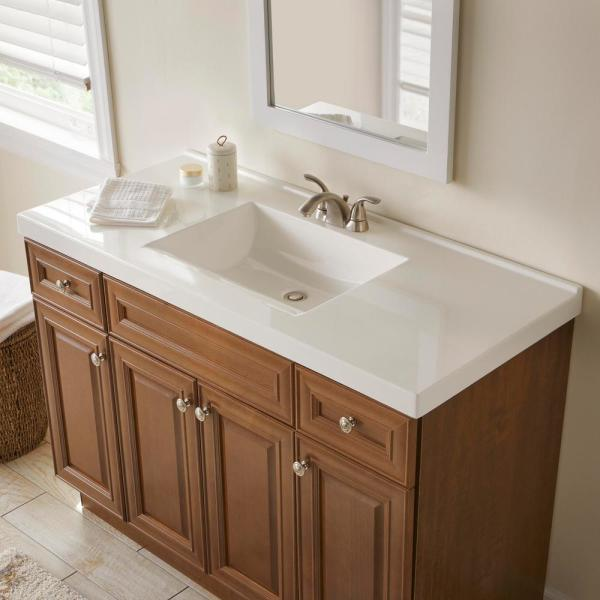 Glacier Bay 49 In W X 22 In D Cultured Marble Vanity Top In White With White Sink Hu4922r Wh The Home Depot