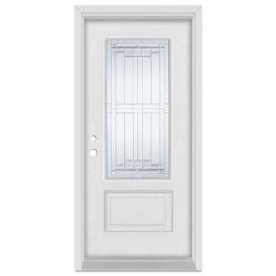 37.375 in. x 83 in. Architectural Right-Hand Zinc Finished Fiberglass Mahogany Woodgrain Prehung Front Door Brickmould