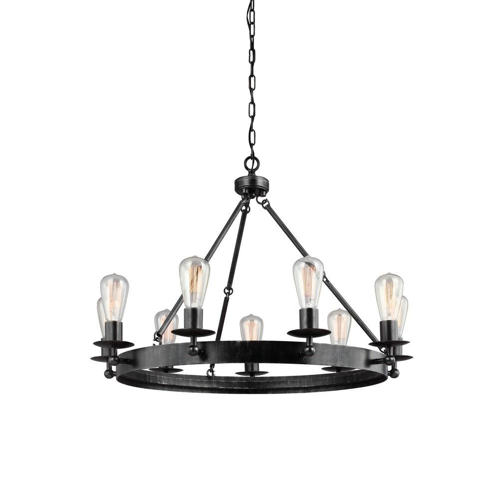 Sea Gull Lighting Ravenwood Manor 31 in. W. 9-Light Weathered Gray Single