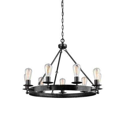Ravenwood Manor 31 in. W. 9-Light Weathered Gray Single Tier Chandelier