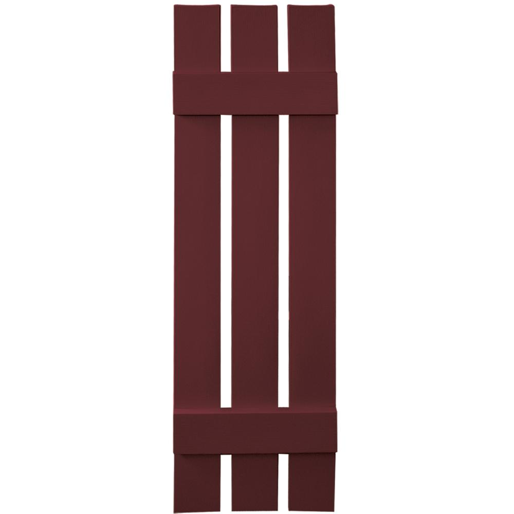 Builders Edge 12 in. x 43 in. Board-N-Batten Shutters Pair, 3 Boards Spaced #078 Wineberry
