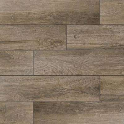 Wood Porcelain Tile Tile The Home Depot - Dark brown tile that looks like wood