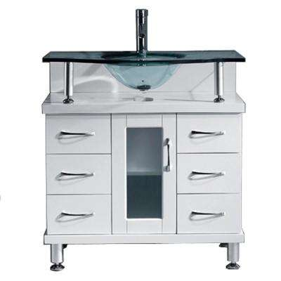 Vincente 32 in. W Bath Vanity in White with Glass Vanity Top in Clear Mint Green with Round Basin