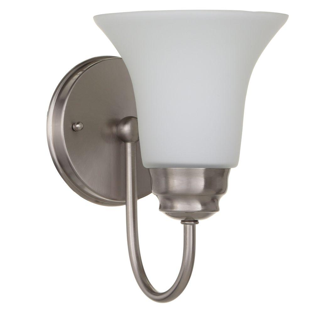 1 light brushed nickel sconce with frosted white glass shade