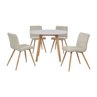 Edgewater 5-Piece Dining Set with White Topped Round Table and Armless Upholstered Dining Chairs in Oatmeal Tan Linen