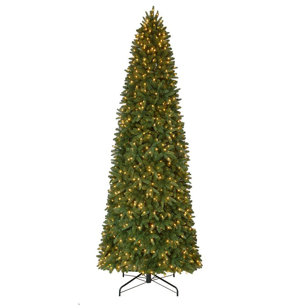 12 ft. Pre-Lit LED Sierra Nevada Quick Set Artificial Christmas Slim ...