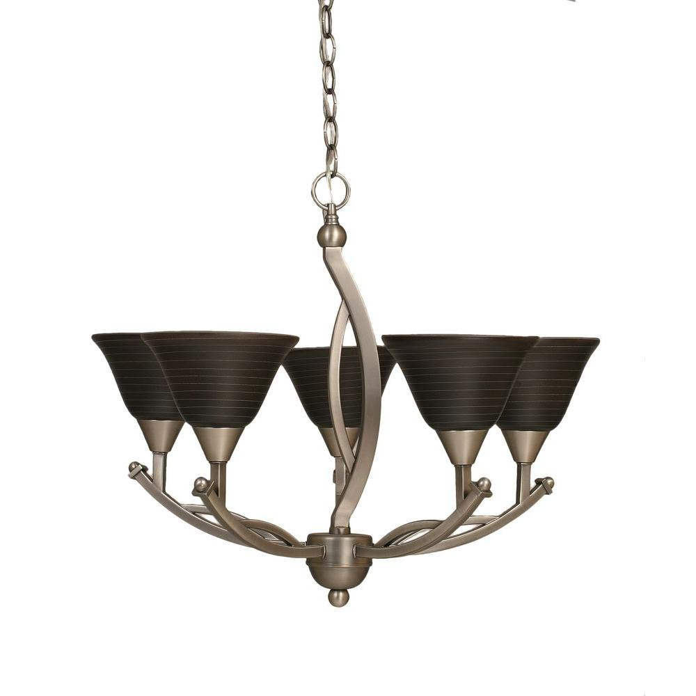 Concord 5-Light Brushed Nickel Chandelier with Charcoal Spiral Glass Shade