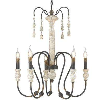 Amelie Collection 5-Light Antique Black Iron and Weathered White Wood Chandelier