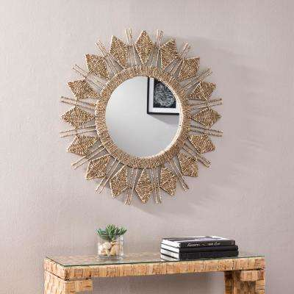 Dahlia Natural Wood Finish Oversized Sunburst Decorative Wall Mirror