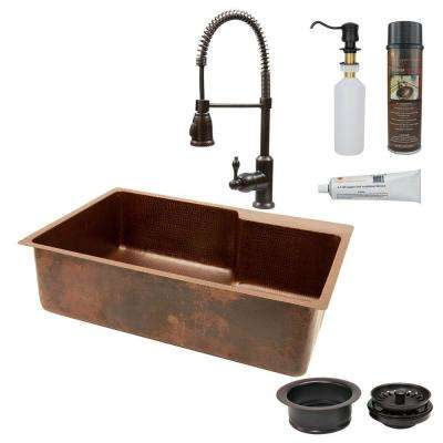 All-in-One Undermount Copper 33 in. 0-Hole Single Bowl Kitchen Sink with Space for Faucet in Oil Rubbed Bronze