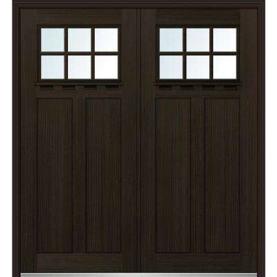 64 in. x 80 in. Shaker Right-Hand Inswing 6-Lite Clear Low-E Stained Fiberglass Fir Prehung Front Door with Shelf