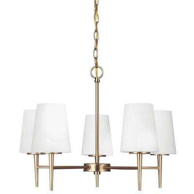 Driscoll 25.25 in. W 5-Light Satin Bronze Single Tier Chandelier with Inside Etched White Glass Shades