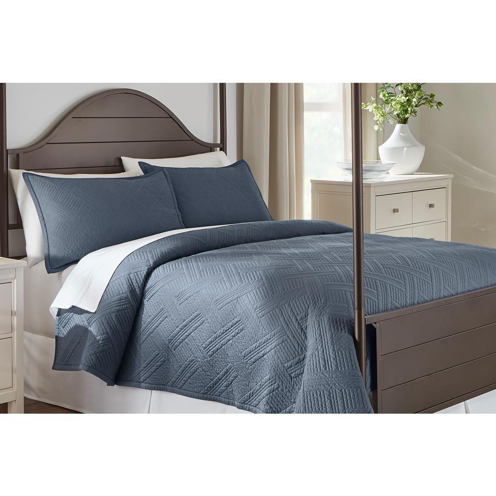 Binghamton 3-Piece Steel Blue Solid Cotton Quilt Set
