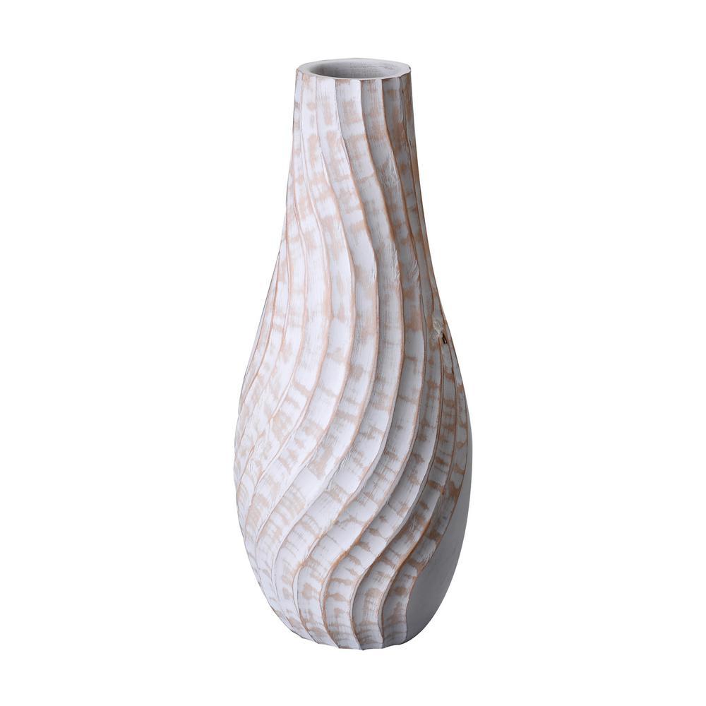 White Tall Handmade Decorative Tear Drop Mango Wood Swirl Bottle Vase
