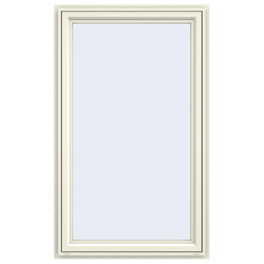 35.5 in. x 59.5 in. V-4500 Series Cream Painted Vinyl Left-Handed