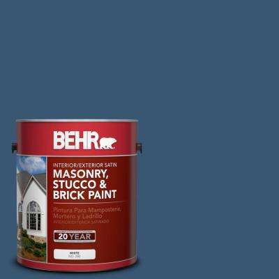1 gal. #M500-6 Express Blue Satin Interior/Exterior Masonry, Stucco and Brick Paint