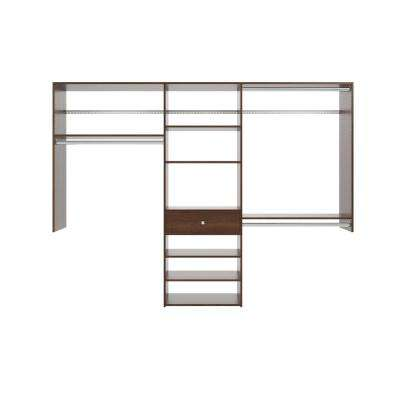 14 in. D x 96 in. W x 72 in. H Espresso Perfect Fit Wood Closet Kit