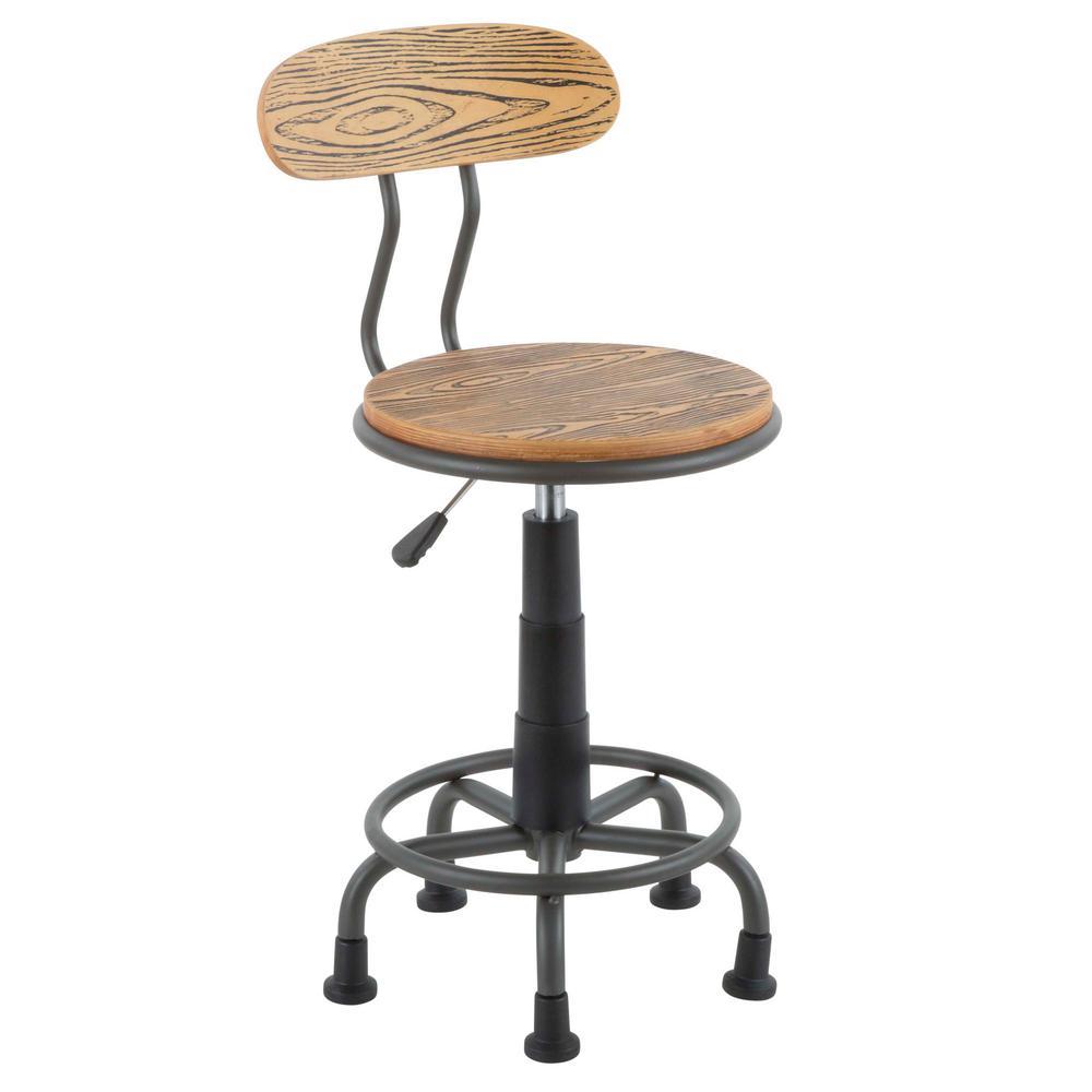 Dakota Grey Metal and Natural Wood Task Chair