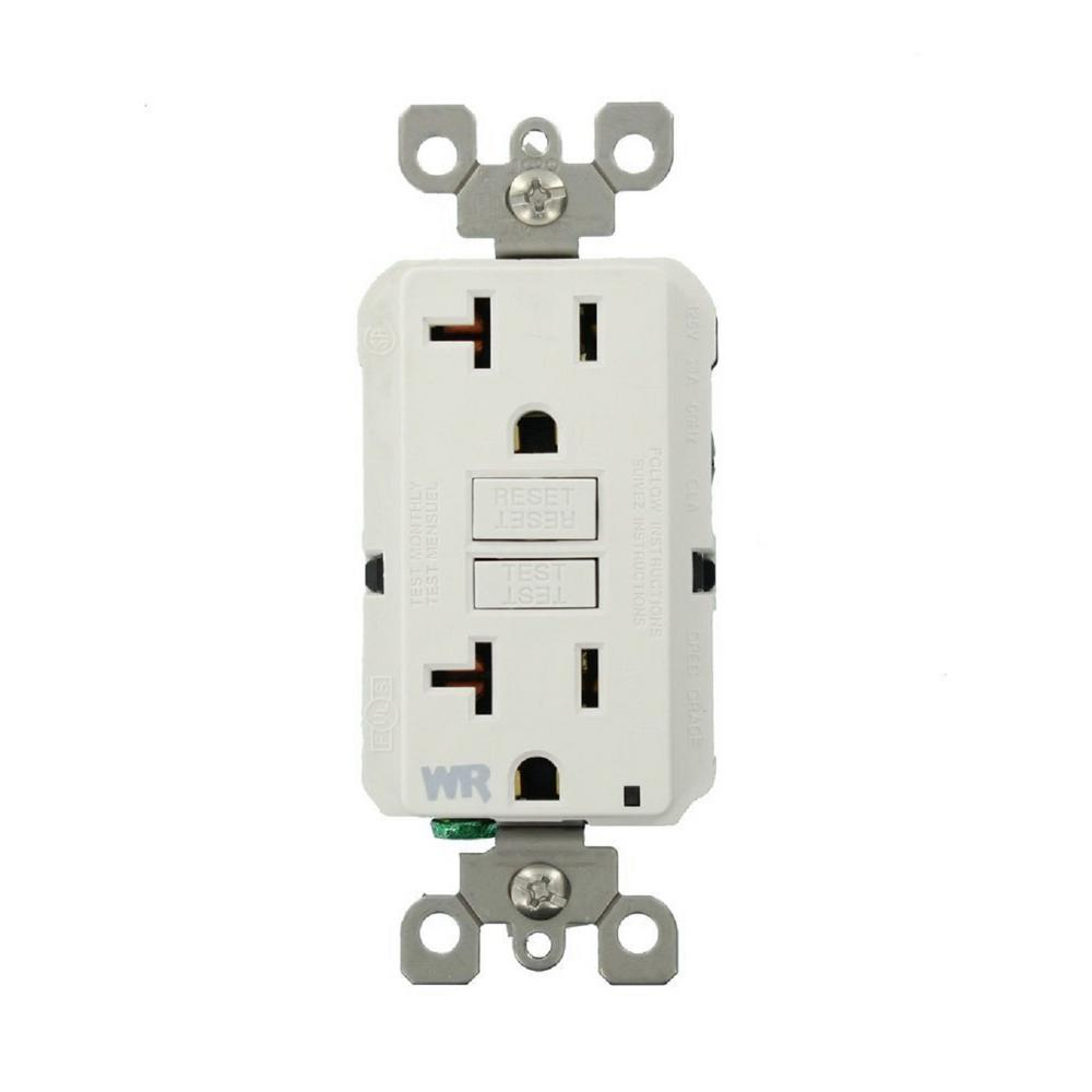 Leviton 20 Amp SmartlockPro Weather Resistant GFCI Outlet, White ...