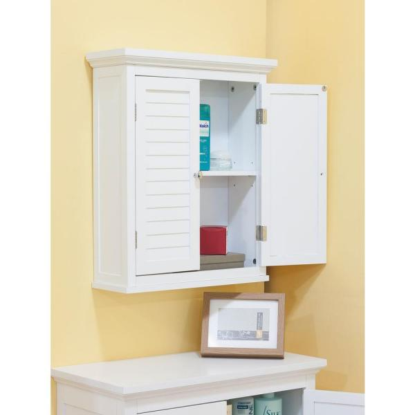 Elegant Home Fashions Simon 20 In W X 24 In H X 7 In D Bathroom Storage Wall Cabinet With 2 Shutter Doors In White Hdt583 The Home Depot