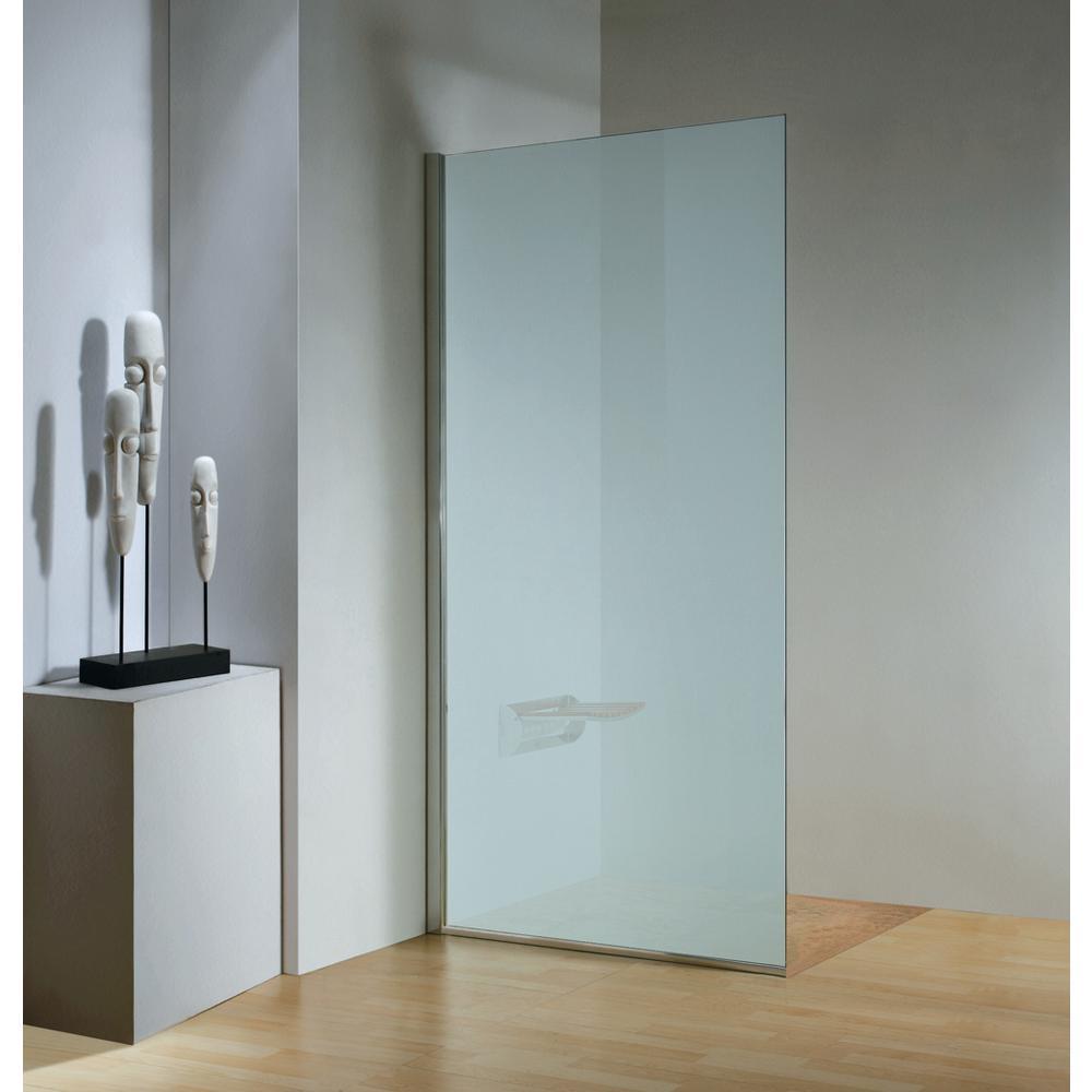 32 in. x 79 in. Frameless Fixed Shower Door in Chrome