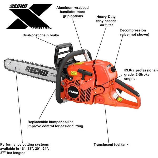 Echo 24 In 59 8 Cc Gas 2 Stroke Cycle Chainsaw With Wrap Handle Cs 620pw 24 The Home Depot