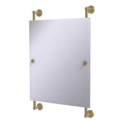 Waverly Place Collection 21 in. x 33 in. Rectangular Frameless Rail Mounted Mirror in Satin Brass